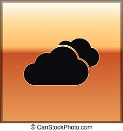 Black Cloud icon isolated on gold background. Vector Illustration