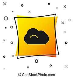 Black Cloud icon isolated on white background. Yellow square button. Vector Illustration