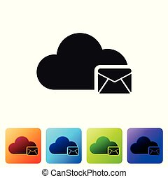 Black Cloud mail server icon isolated on white background. Cloud server hosting for email. Online message service. Mailbox sign. Set icon in color square buttons. Vector Illustration