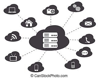 black cloud networking background - isolated black cloud...