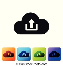 Black Cloud upload icon isolated on white background. Set icon in color square buttons. Vector Illustration