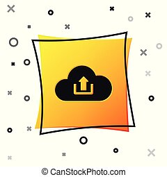 Black Cloud upload icon isolated on white background. Yellow square button. Vector Illustration