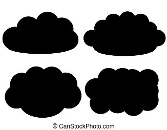 Black cloud vector icons isolated over white background