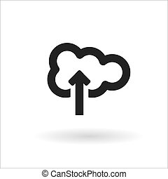 Black cloud vector line icon on white background