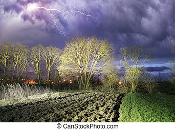 Black cloud with lightning over the forest