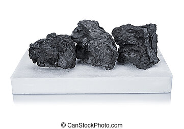 black charcoal and white firelighter for BBQ isolated on white