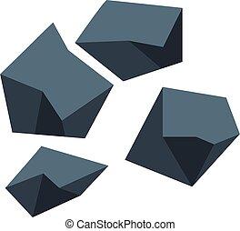 Black coal icon, isometric style