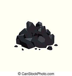 Black coal stones flat style vector illustration isolated on white background.