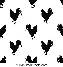 Black cock icon isolated seamless pattern on white background. Vector