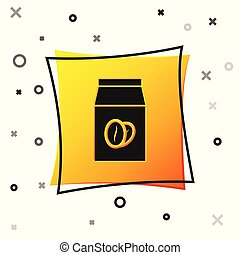 Black Coffee beans in bag icon isolated on white background. Yellow square button. Vector Illustration