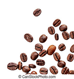 Black Coffee beans isolated on white background. Coffeee concept. Flat lay. Top view