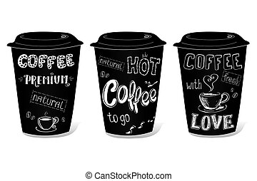 Black coffee cup covered with hand-drawings on the theme of coffee
