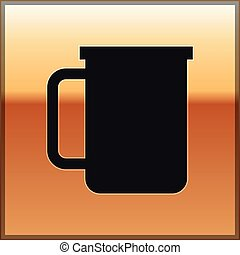 Black Coffee cup flat icon isolated on gold background. Tea cup. Hot drink coffee. Vector Illustration