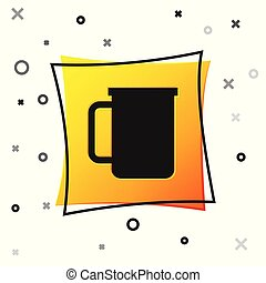 Black Coffee cup flat icon isolated on white background. Tea cup. Hot drink coffee. Yellow square button. Vector Illustration