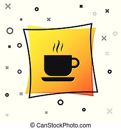 Black Coffee cup icon isolated on white background. Tea cup. Hot drink coffee. Yellow square button. Vector Illustration
