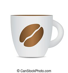 Black Coffee Cup Isolated on White Background. Photo-Realistic V