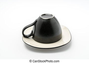 Black coffee cup on a white background .
