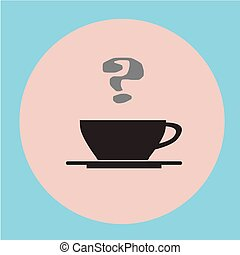 Black coffee cup on flat background.