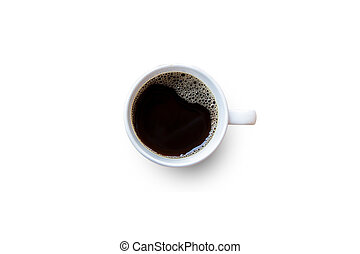 Black coffee cup on white background. Top view