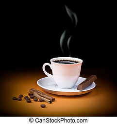 Black coffee cup with steam and piece of chocolate, beans and cinnamon