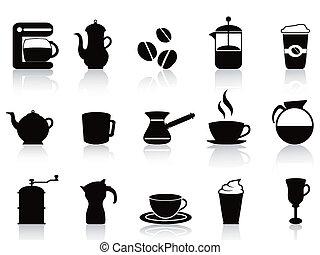 black coffee icons set