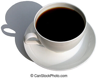 Black coffee in a white cup and its shadow