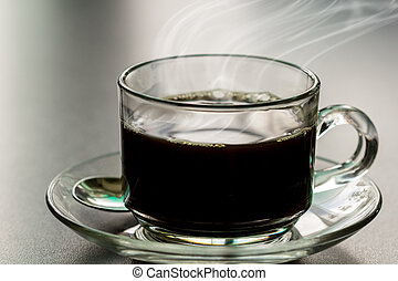black coffee in coffee cup on table