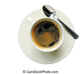 Black coffee in white cup isolated on white with clipping path.