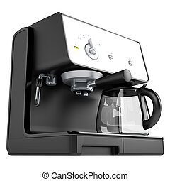Black coffee machine isolated on white background