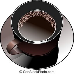 Black coffee mug with foam and saucer. Illustration on white