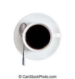black coffee on isolated white with clipping path.