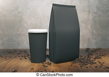 black coffee bean bag mockup blank foil bag template in 3d rendering