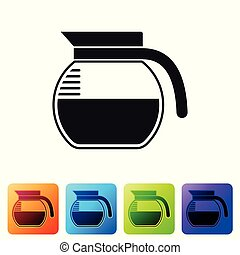 Black Coffee pot icon isolated on white background. Set icon in color square buttons. Vector Illustration