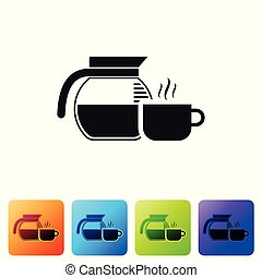 Black Coffee pot with cup icon isolated on white background. Set icon in color square buttons. Vector Illustration
