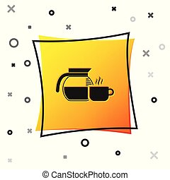 Black Coffee pot with cup icon isolated on white background. Yellow square button. Vector Illustration