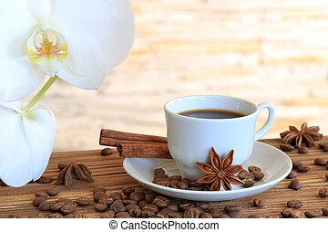 Black coffee with cinnamon