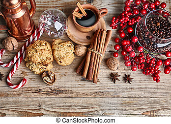 Black coffee with cookies cinnamon and spice