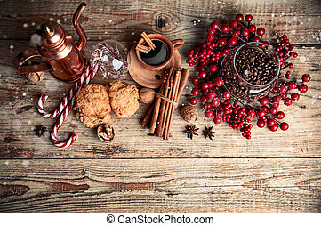 Black coffee with cookies cinnamon and spice. Vector
