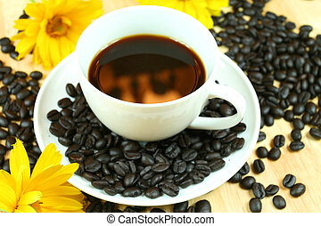 Black coffee with flowers