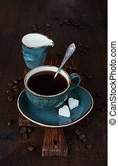Black coffee with sugar - Black coffee in blue vintage cup ...