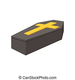 Black coffin isometric 3d icon on a white background
