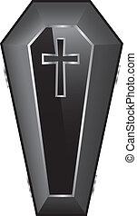 Black Coffin Vector Illustration.