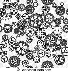 black cogs and gears seamless background, vector ...