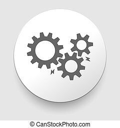black cogs - gears on light background