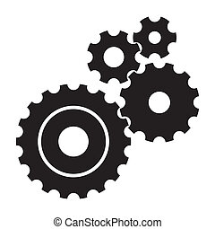 black cogs (gears) on white background