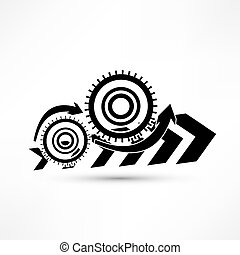 black cogs on white background