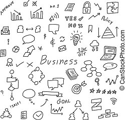 Black color doodle hand drawing icon in business set on white background