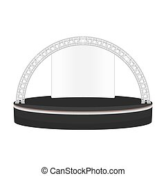 black color flat style dais round stage metal truss...