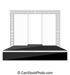 black color flat style stage with scenes back metal truss...