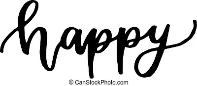 Black color hand writing in word happy on white background (vector)